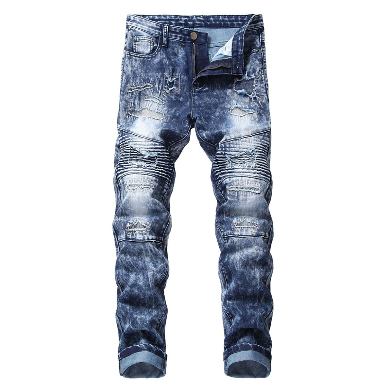 2019 New Men's Straight Locomotive Stretch Slim Jeans Men's Hole Blue Denim Trousers More Size 28-34 36 38 40