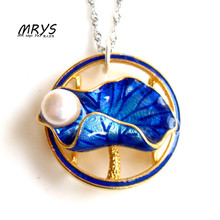 New Lotus Leaf Blue lotus Ethnic Cloisonne Enamel Natural Pearl 925 sterling Silver Chain Necklace Women Girls Chistmas Jewelry