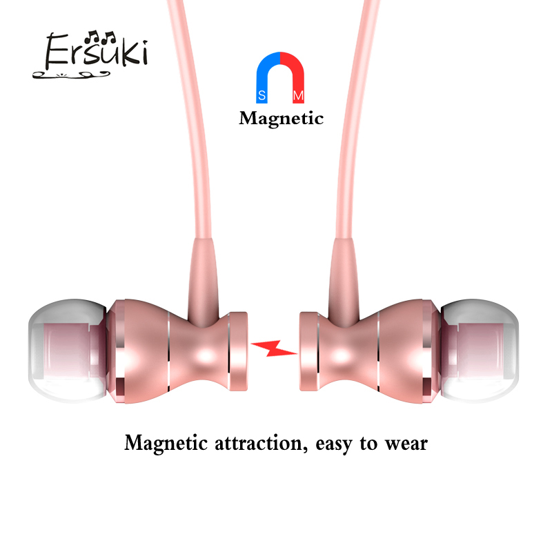 Ersuki  Metal In-Ear Earphones Headset Magnetic Clarity Stereo Sound Sport Headphones With Microphone For Mobile Phone MP3 MP4