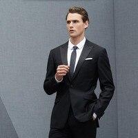 Для мужчин костюмы шерсть смешивается классические элегантные свадебные костюмы смокинги Черный нагрудные хорошее качество Жених Пром ко