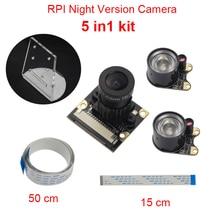 Raspberry Pi 3 Камера фокусное Регулируемая Ночное видение Камера модуль + IR Сенсор свет + Acryclic держатель + FFC Для Малина PI 3/2