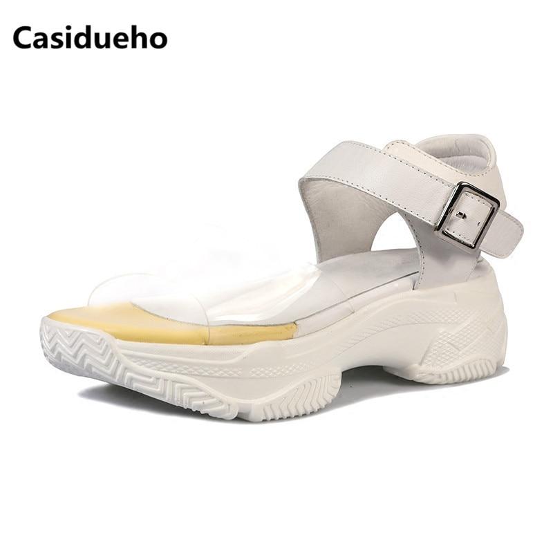Casidueho Platform Shoes Woman PVC Patchwork Dress Sandalias Mujer 2018 Buckles Flats Leisure Gladiator Sandals Women Slides 40