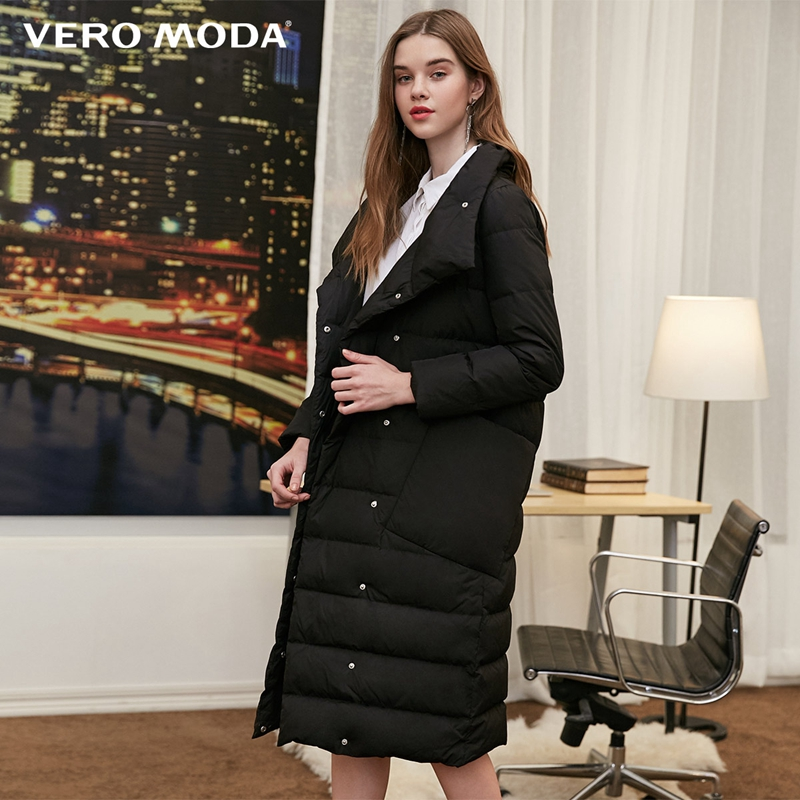 Vero Moda New 90% White Duck Down Side Pocket Oversize Long Down Jacket Women | 318312511