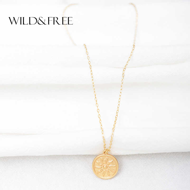 Liar & Gratis Matte Emas Matahari Liontin Kalung untuk Wanita Bohemian Vintage Bulat Besar Koin Pesona Kalung Fashion Perhiasan Grosir