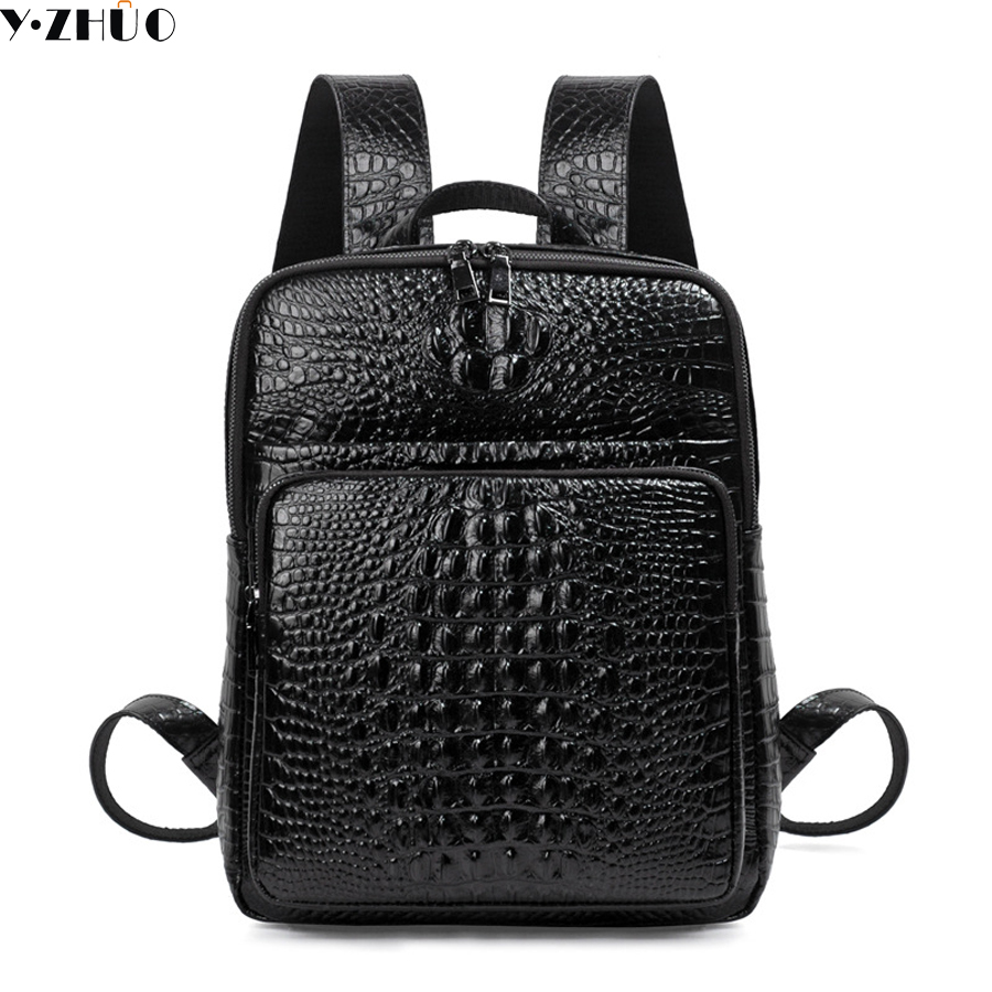 free shipping man Genuine Leather Backpack 3D Crocodile men BackPack Daily Bags For Girls College Female Fashion Shoulder Bags ultra vita man daily multi 90 caplets free shipping