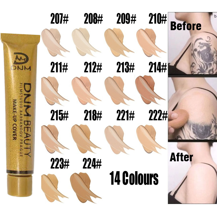 Full Skin Concealer Foundation Cream Face Professional Blemish Cover Dark Spot Tattoo Contour Makeup Liquid Concealer Cosmetic image