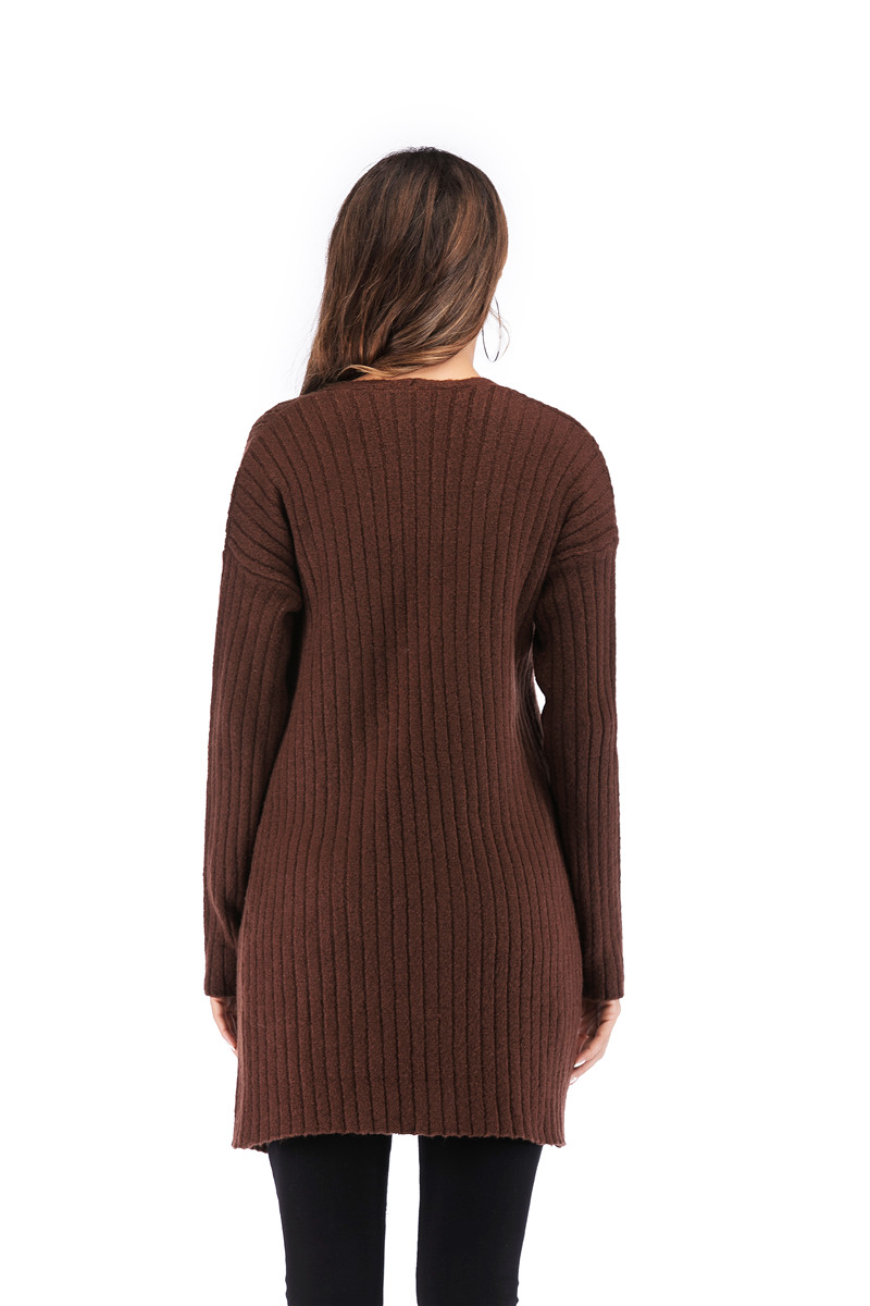 Fall Winter Cute Knitted Middle Long Ribbed Cardigan Dress for Women Kawaii Ladies Knit Drop Shoulder Sweater Coat Oversized S-L 25
