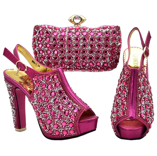 4e74fd65b92ac2 Women sandal shoes and clutches bag fuhsia hot pink shinning bling with big  rhinestones high quality shoes and bag SB8131-3