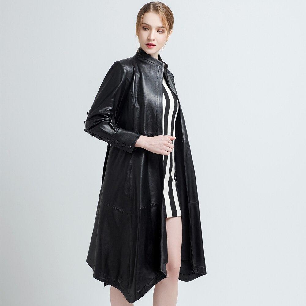 Kadın Giyim'ten Deri ve Süet'de Gours Hakiki Deri Ceket Kadınlar için Bahar Moda Klasik Uzun Kollu Ince Ceket Bayan Deri Rüzgarlık Koyun Derisi Ceket'da  Grup 2