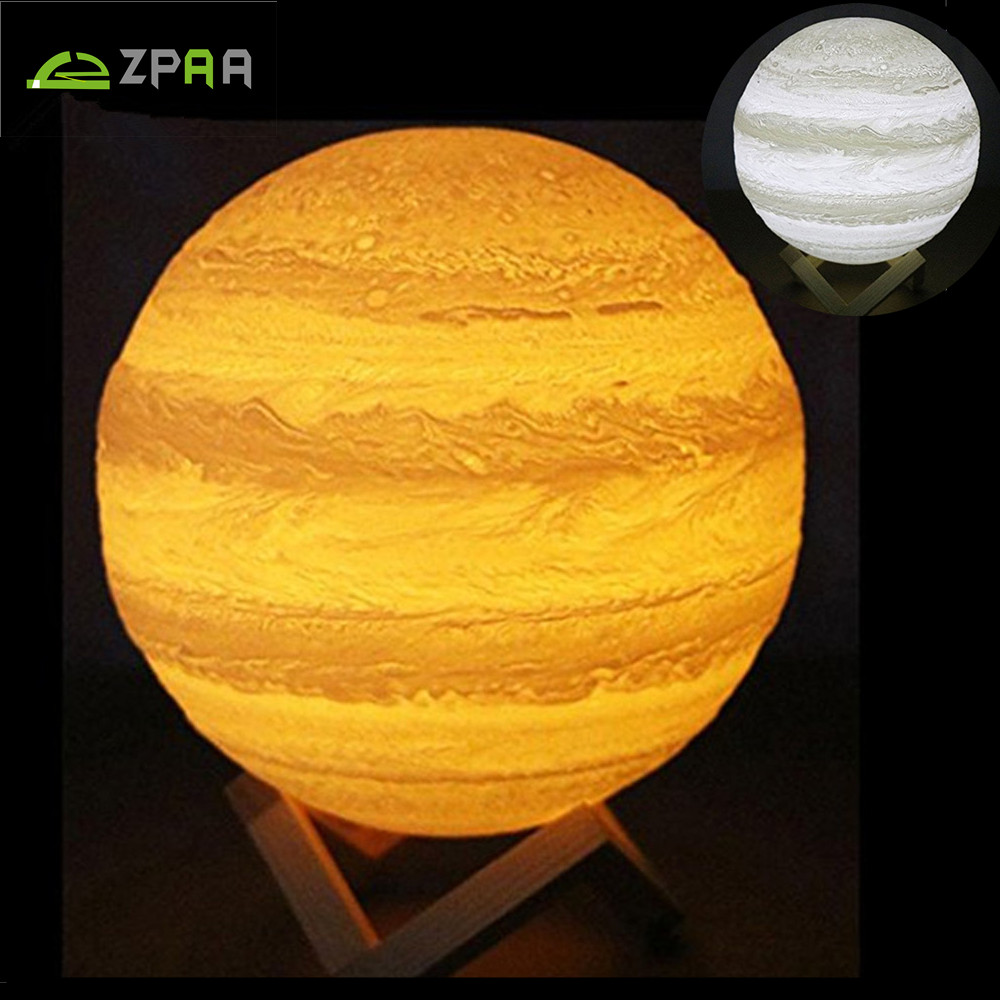Jupiter Lamp 3D Printing Baby Night Light Dimmable 2/16 Colors Touch/Remote Control PLA Material USB Rechargeable Home Decor