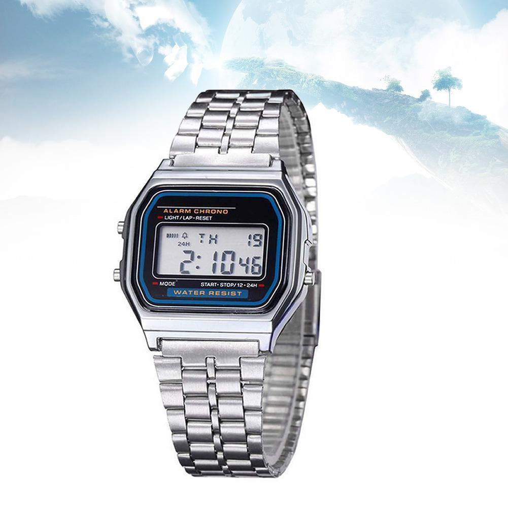 Alipower Vintage Womens Men Stainless Steel Digital Alarm Stopwatch Wrist Watch Men's Retro Electronic Relogio Masculino Femme