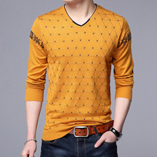 Mens Sweaters Wool Pullover Men Brand Clothing Casual V-Neck Sweater Men Dot Pattern Long Sleeve Cotton Shirt Male
