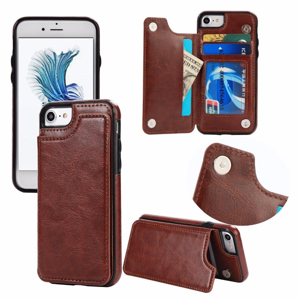 Caso del tirón para el iPhone 6 6 s más 7 8 Plus X funda cuero coque tarjeta slot holster stand hombre para Samsung S7 borde S8 más caso