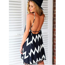 3XL-6XL Sexy Women Backless Solid color skirt Wavy stripes Bikini beach Large size top Chiffon Sleeveless Sling
