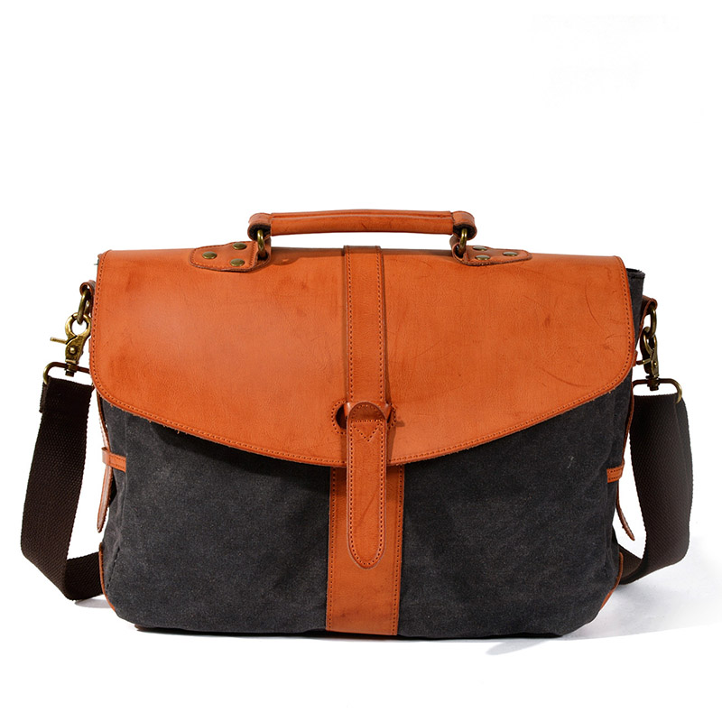 Korean Version Of Retro Oblique Bag Waterproof Wax Canvas Casual One-shoulder Bag Laptop Bag With Polished Leather Briefcase