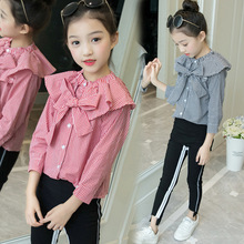 цена Kids 2019 Spring autumn new O-neck Long sleeve Children's suit cotton Plaid Single Breasted Baby Clothes+pants Baby Girl Clothes онлайн в 2017 году