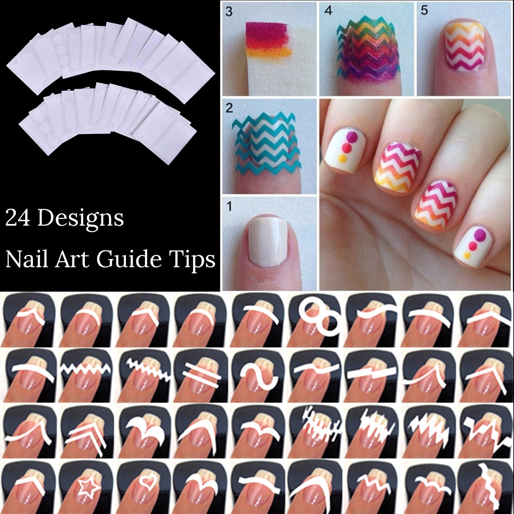 24 Sheets Nails Sticker Stencil Tips Guide French Swirls Manicure Nail Art Decals Form Fringe DIY Sencil 3D Styling Beauty Tools