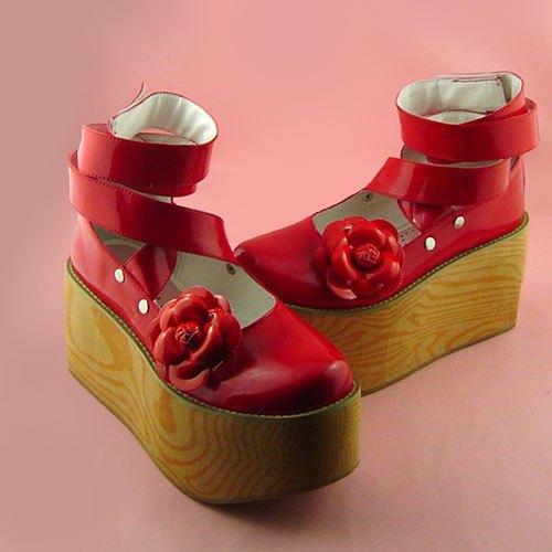 ФОТО Princess sweet lolita gothic lolita shoes Lolita lacing antaina wood grain high-heeled platform shoes 9244a