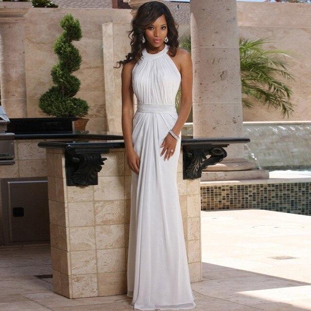 Simple Design Halter Sleeveless Cheap Gown Empire Waist White Chiffon Beach Wedding Dress 2017 New Arrival