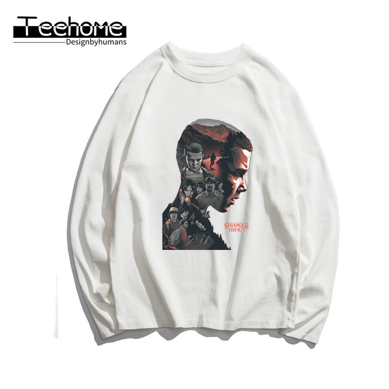 Men's The Stranger Things Print Long Sleeve Autumn Men and Women Full Sleeve Harajuku T Shirt Winter Streetwear