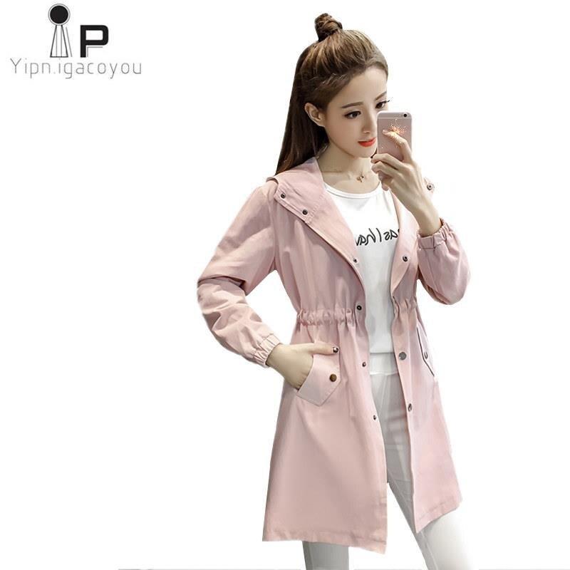 Autumn Long Coat Women's Windbreaker Harajuku Plus Size Pink Long Sleeve Hoodies   Trench   Coat Women Overcoat Female Ladies Coats