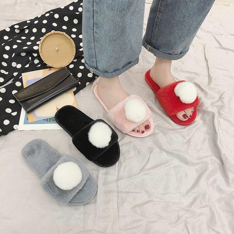 Liren 2019 Real Fox Fur Slippers Women Flat Non-slip Fur Slides Girl's Fashion Furry Slippers Drop Shipping Women Slides Hot