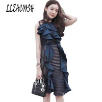 self portrait party dresses summer fashion runway dresses 2018 women's summer sexy Ruffless lace dress