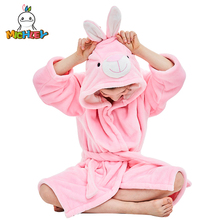 MICHLEY Kids Bath robes Adorable Baby Girl Roupao Hooded Childrens Towel Pink Rabbit Bathrobes Beach Swimwear Boy Pajamas WEK-P