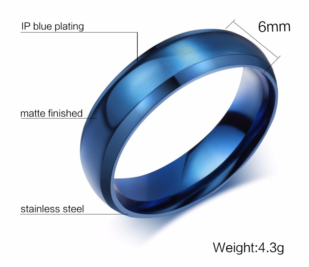 Mens Rings 6MM Wedding Band Stainless Steel Ring Men Jewelry Engagement Ring Comfort Fit Beveled Edges Black Blue Gold-color Decoration Accessories anillos masculino 112