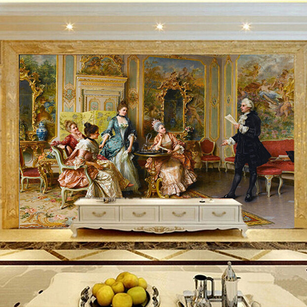 Marvelous Vintage Europe Palace Lady Large Wall Murals Living Room Tv Background Big  Size Wall Murals(