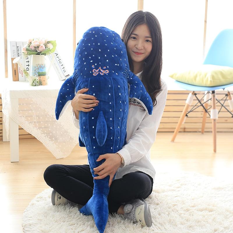 Grand 100 cm nouveau dessin animé requin baleine 3 couleur en peluche douce poupée Animal en peluche jouet pour amoureux enfants meilleur cadeau coussin décoration de la maison