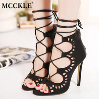 MCCKLE Women S Fashion Faux Suede Lace Up Strappy Ankle Gladiator Boots High Heels Hollow Out