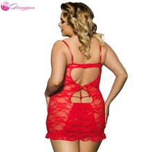 DangYan Plus Size Floral Lace erotic babydoll dress with G-string transparent backless sexy costumes erotic pajama sexy lingerie