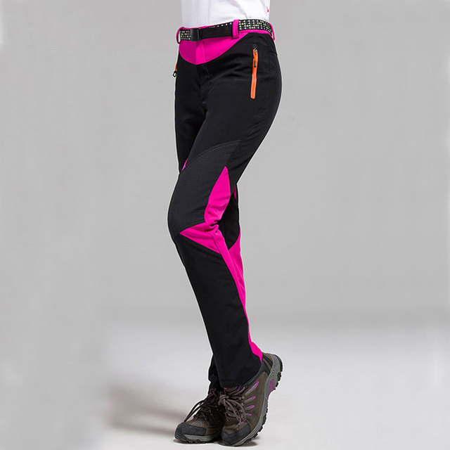 women winter outdoor sport fleece warm elastic ski pants waterproof camping  hiking trousers female slim fit soft shell pants a8e4ef33e