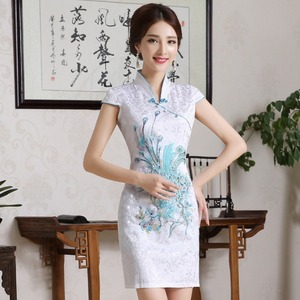 Image 5 - New Women Chinese Embroidery Designs Cheongsam Dress Oriental Style Gold Thread Phenix Qipao Short Low Slits 4XL Plus Size Xxxxl