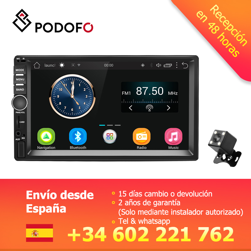 Podofo VEUR 7 ''2din Android autoradio stéréo GPS Navigation Bluetooth USB SD 2 Din tactile lecteur multimédia Audio