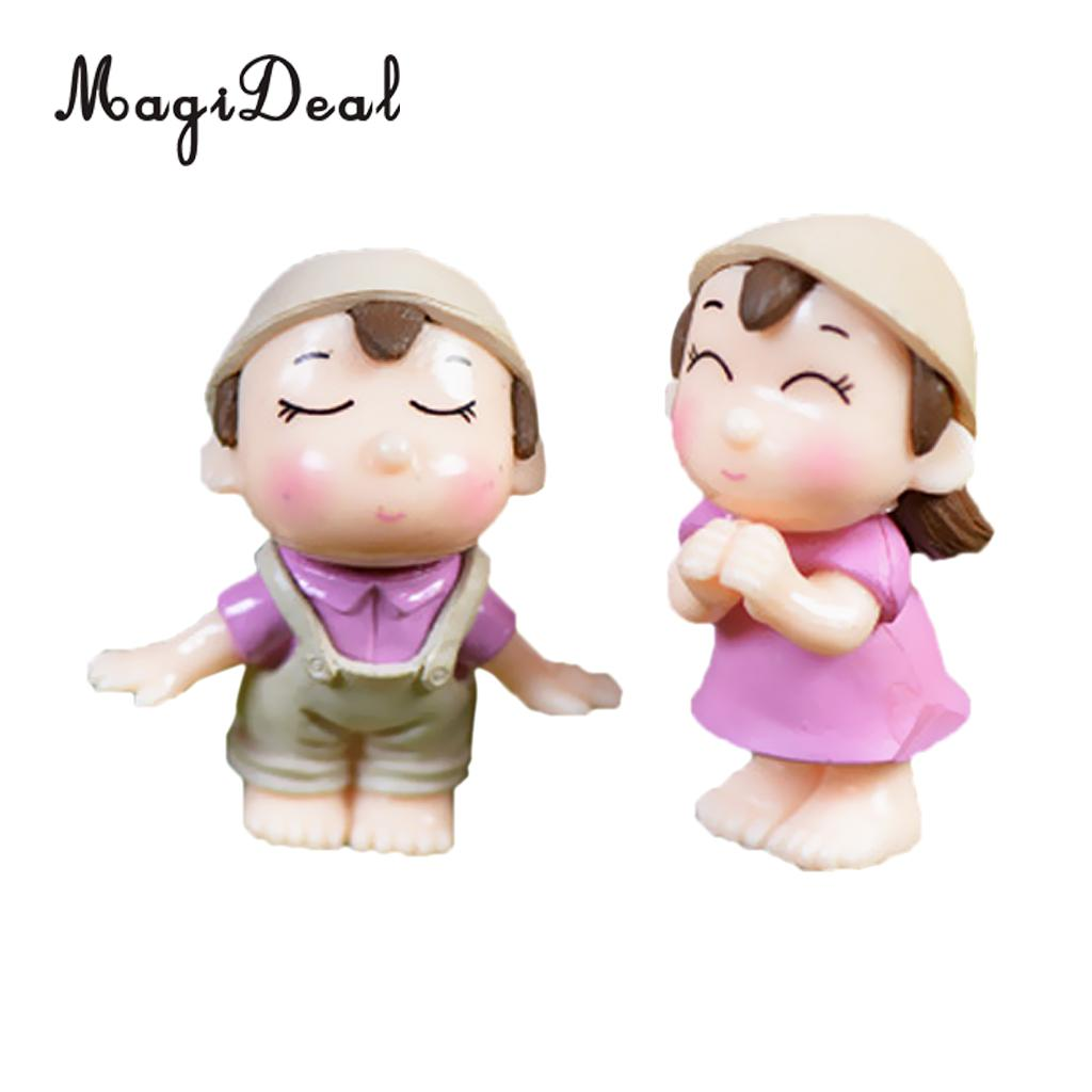 MagiDeal 2Pcs Lot Smiling Couples Miniature Fairy Garden Bonsai Landscape Home Decor Party Favors Gifts in Figurines Miniatures from Home Garden