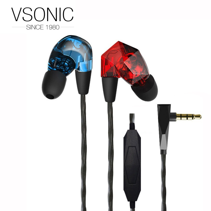 VSONIC VSD3Si  In-line control Microphone Professional Noise-isolation HIFI Inner-Ear Earphone for Mobile Phone VSD3 Si vsonic vsd1si with microphone vsd1s professional noise isolation hifi earphones earbuds headset