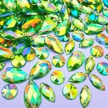 Прямая маркиза круглая Смешанная форма зеленая ab акриловые нашивки Дизайн Стразы страз камень шитье Diy для украшения свадебного платья