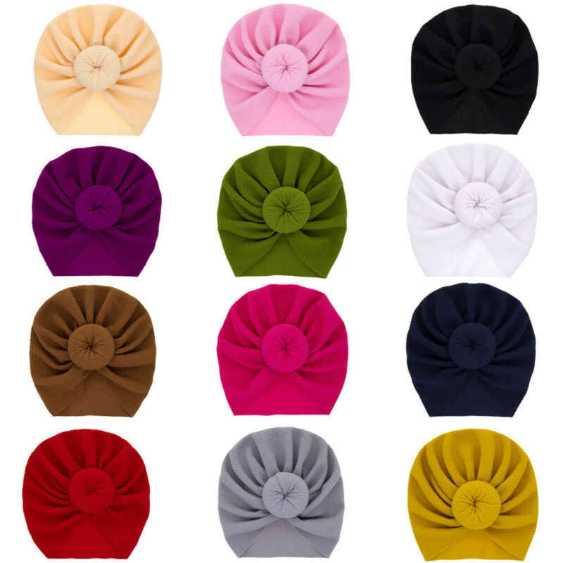 Infant Baby Girl Boys Cotton Turban Headwear Accessories Toddler Kids Knot Hat Lovely Soft Hairbands Hairwear 2-4Pcs Shipping
