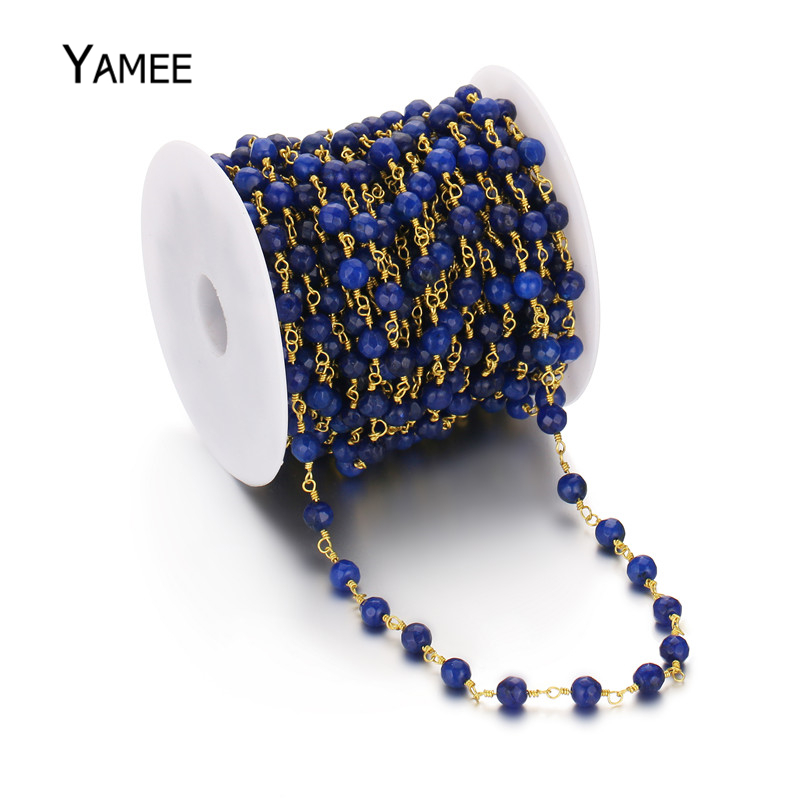 Handmade Colour Jades Jewelry DIY Accessories Beading 6mm Round Blue Beads Chains Bulk for Making Bracelet/Necklace 5m/Pack