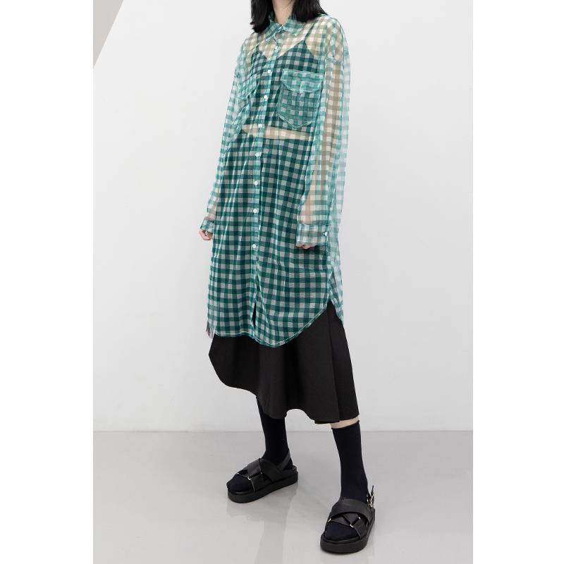 TVVOVVIN Women Shirt Mesh Perspective Plaid Blouse Women Black Khaki Casual Long Button Up Womens Blouse 2019 New Sexy V351