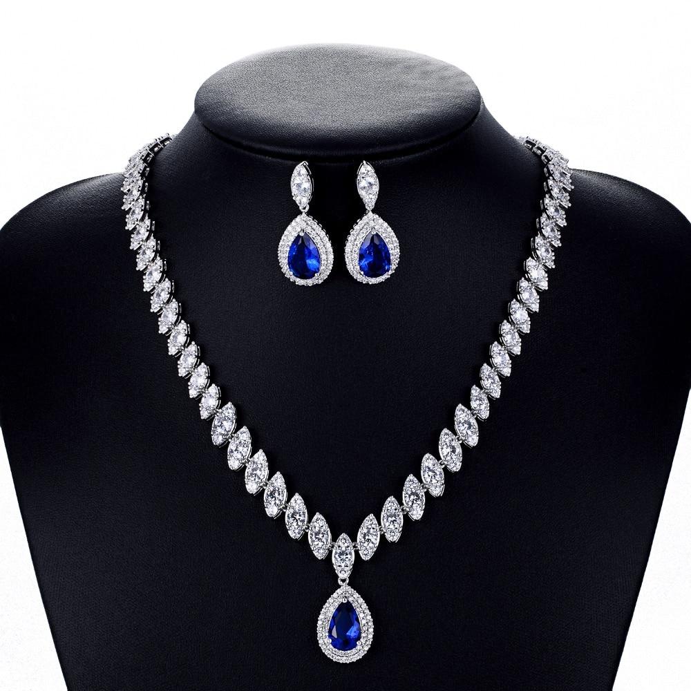 Crystal CZ Cubic Zirconia Bridal Wedding Drop Necklace Earring Set Jewelry Sets Women Accessories CN10001