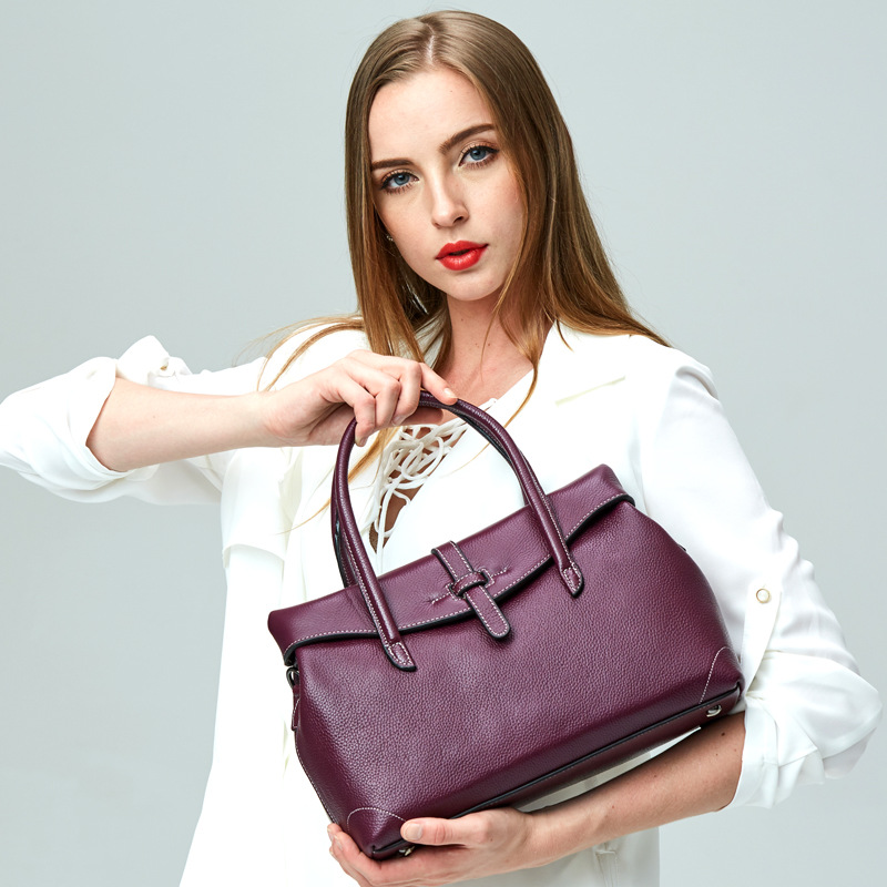 2018 Popular Purple 100% Real Leather Handbag Ladies Tote Cover Shoulder Bags Women Luxury Design Genuine Leather Bag Female New цена