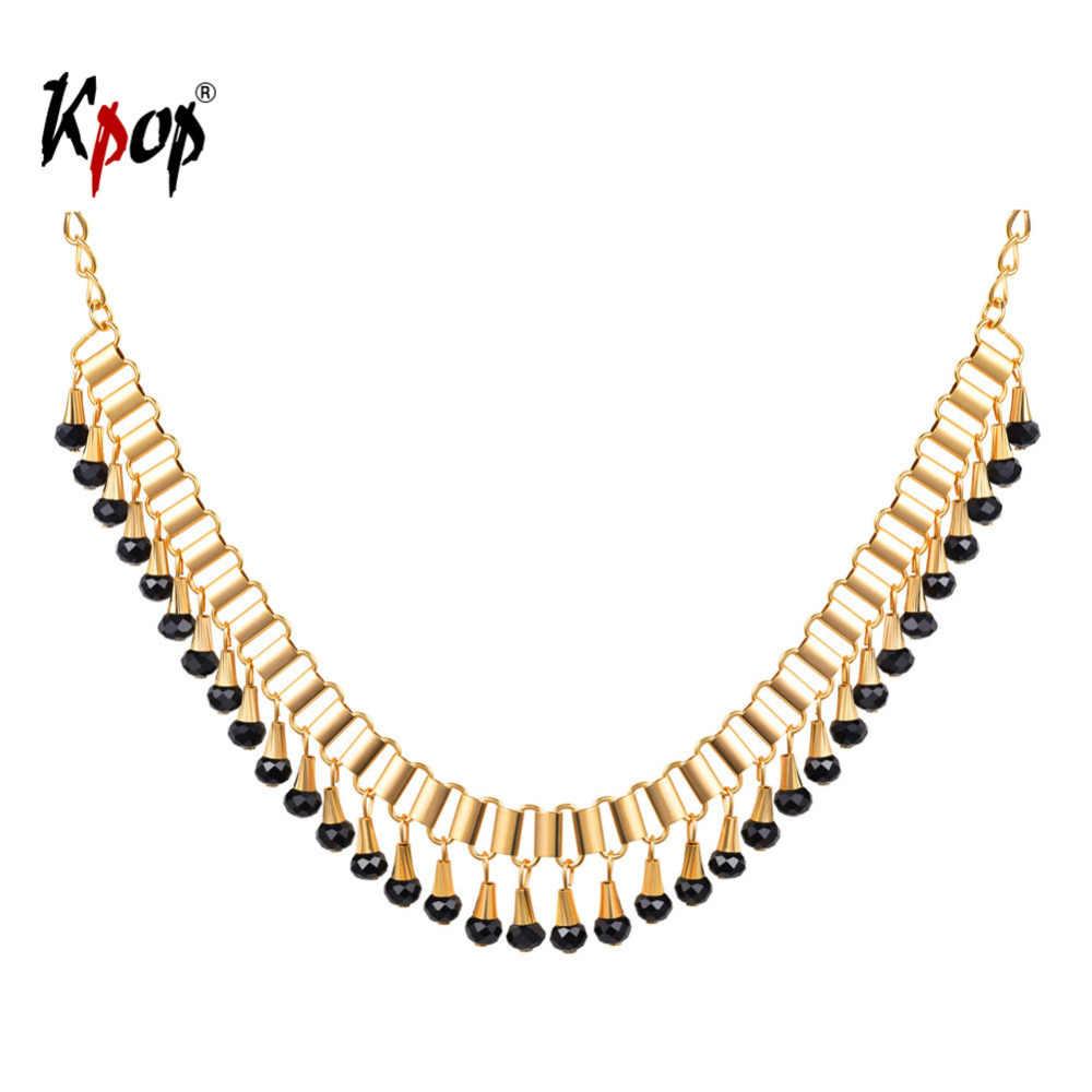 Kpop Vintage Collar Gamma สร้อยคอผู้หญิงเครื่องประดับ Rose Gold สีคริสตัลลูกปัดโซ่อินเทรนด์จี้ Choker สร้อยคอ N687