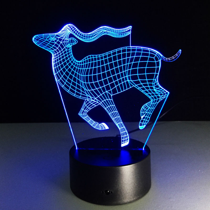 Бегущие Олени 3D Лампа Творческий Небольшой Настольная Лампа Визуальный Night Light USB Цвет меняющейся Свет Как детская подарок