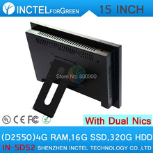 5 wire Gtouch 15 inch LED touch all in one pc 4G RAM 16G SSD 320G HDD Dual 1000Mbps Nics
