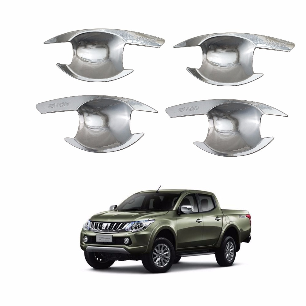 4PCS Abs Chrome plated Door Handle Bowl Covers Trim FOR Mitsubishi Triton L200 2016-2019 Accessories Car modification image