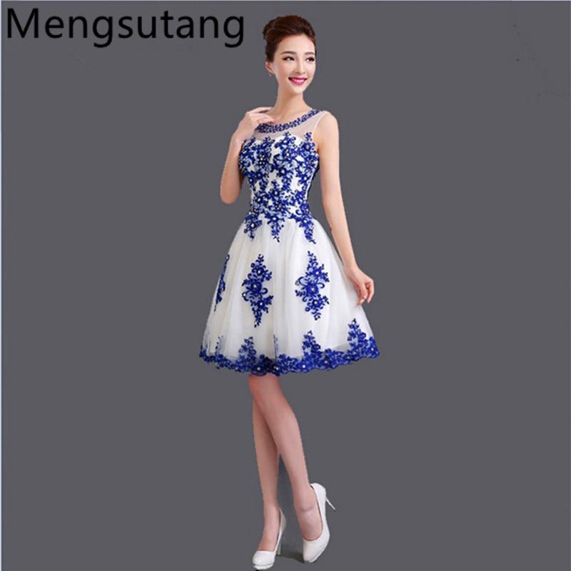 Haljina de soiree 2019 kratka čipka U ogrlica plavo-bijela porculan plava svadba večer haljina vestido de festa prom haljine