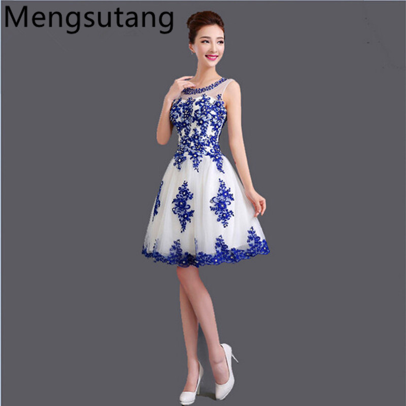 Robe de soiree 2019 κοντό Lace up κολάρο U μπλε & άσπρο πορσελάνη μπλε νυφικό βραδινό φόρεμα vestido de festa φορέματα prom